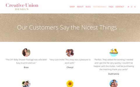Screenshot of Testimonials Page creativeuniondesign.com - Testimonials - Creative Union Design — Designs for Life's Big Moments - captured July 17, 2016
