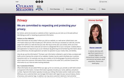 Screenshot of Privacy Page culhanemeadows.com - Privacy Policy | Culhane Meadows PLLC - captured Oct. 3, 2014