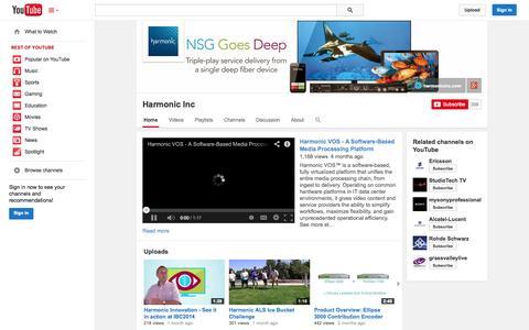 Screenshot of YouTube Page youtube.com - Harmonic Inc  - YouTube - captured Oct. 22, 2014