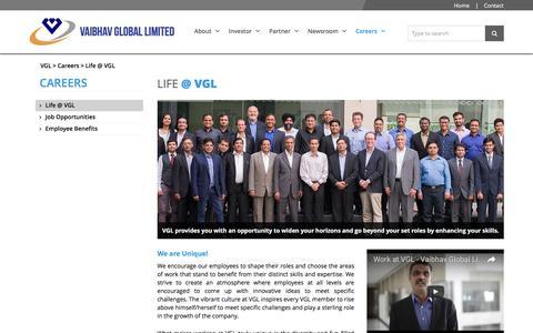 Screenshot of Jobs Page vaibhavglobal.com - LIFE @ VGL   VAIBHAV GLOBAL LIMITED - captured Sept. 11, 2016