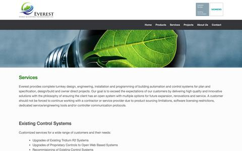 Screenshot of Services Page everestect.com - Services - Everest Energy & Control Technologies - captured Sept. 29, 2018