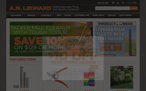 Screenshot of Home Page amleo.com - A.M. Leonard Tools for the Horticultural Industry since 1885. - captured Oct. 5, 2015
