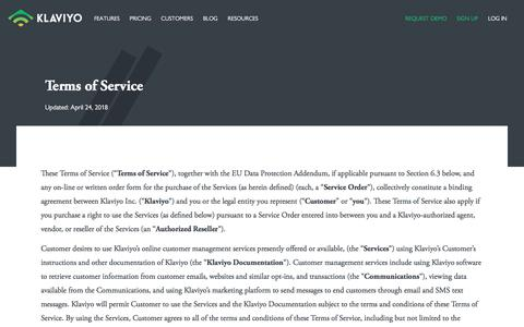 Terms of service - Klaviyo