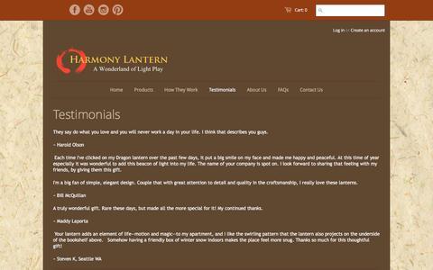 Screenshot of Testimonials Page harmonylantern.com - Testimonials – Harmony Lantern - captured April 11, 2017