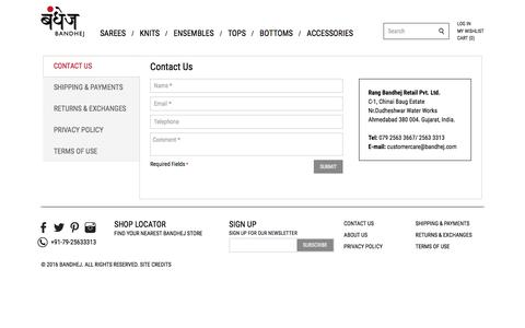 Screenshot of Privacy Page Contact Page Terms Page bandhej.com - Contact Us - Contact Bandhej - captured Jan. 12, 2017