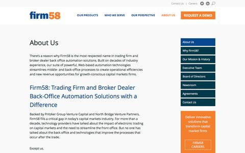 Screenshot of About Page firm58.com - About Firm58 | Leader in Broker Dealer Back office Automation and Capital Markets Financial Software | Firm58 - captured July 4, 2016