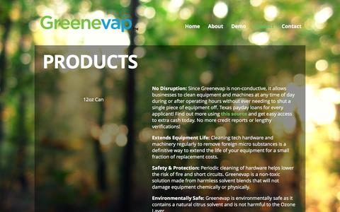 Screenshot of Products Page greenevap.com - Products | Greenevap - captured Feb. 2, 2016