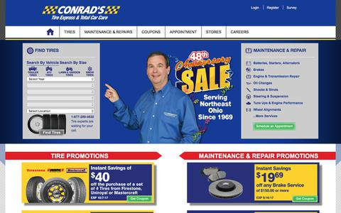 Screenshot of Home Page econrads.com - Auto Repair Car Repair Service Ohio, Tire Stores: Conrad's Total Car Care - captured Aug. 23, 2017