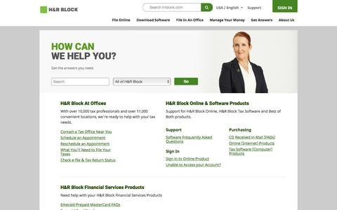 Screenshot of Support Page hrblock.com - Tax Support - Online & Tax Software Product Support by  | H&R Block® - captured Nov. 17, 2015