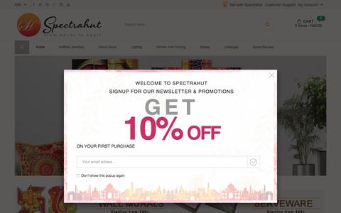 Screenshot of Home Page spectrahut.com - Indian handicrafts online traditional indian handicrafts online shopping for indian handicrafts - Shop for Indian Handicrafts products Online - captured Aug. 18, 2016