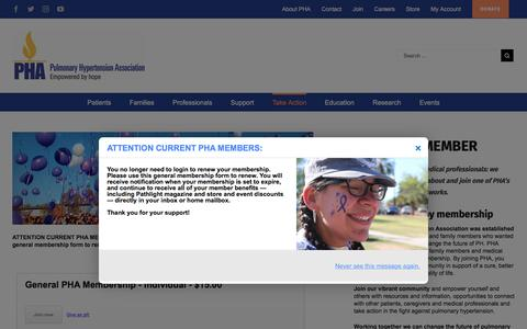 Screenshot of Signup Page phassociation.org - Become a Member - Pulmonary Hypertension Association - captured Sept. 19, 2017