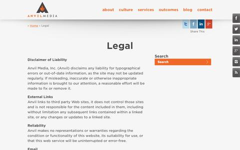 Screenshot of Terms Page anvilmediainc.com - Legal | Anvil Media Inc. - captured Oct. 10, 2014