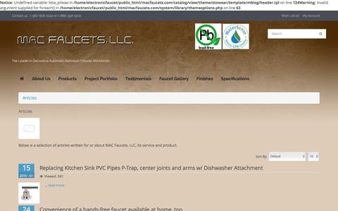 Screenshot of Blog macfaucets.com - Articles | Blog | Hands Free Automatic Faucets | Mac Faucets - captured Dec. 17, 2015