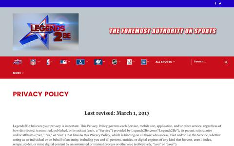 Screenshot of Privacy Page legends2be.com - PRIVACY POLICY - captured June 20, 2017
