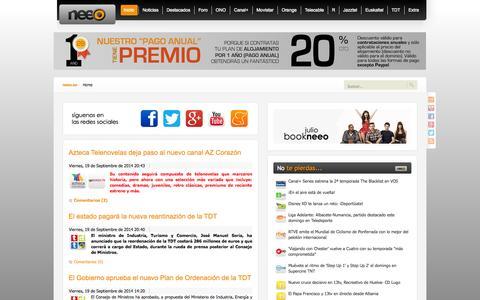 Screenshot of Home Page neeo.es - neeo | Todo sobre ONO, ONO HD, TiVo, Canal+, Movistar, Orange, Telecable, R, Jazztel y TDT - captured Sept. 23, 2014