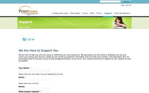 Screenshot of Support Page printluna.com - PrintLuna Support | PrintLuna - captured Oct. 4, 2014
