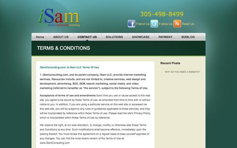 Screenshot of Terms Page isamconsulting.com - TERMS & CONDITIONS - iSam Consulting Internet Marketing Miami-Websites, SEO, Social Media. - captured Sept. 30, 2014