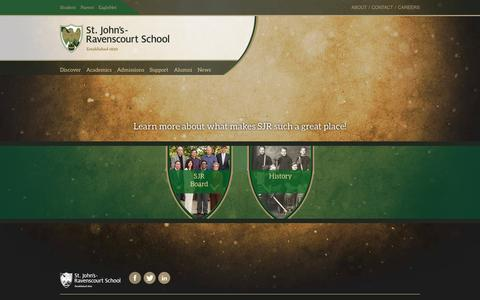 Screenshot of About Page sjr.mb.ca - About - St. John's-Ravenscourt School - captured Oct. 7, 2014