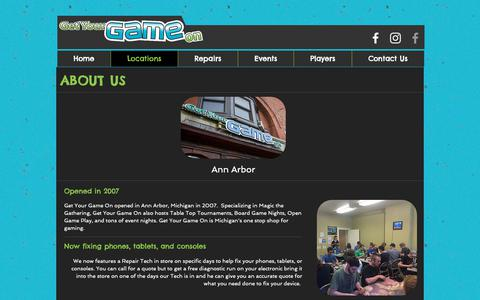 Screenshot of Locations Page getyourgameonline.com - Get Your Game On | Ann Arbor / Ferndale - captured Sept. 28, 2018