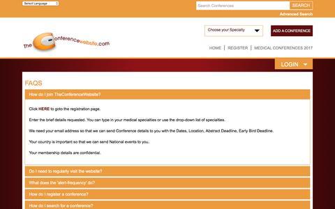 Screenshot of FAQ Page theconferencewebsite.com - Medical Conference Website FAQs   Medical Conference Website - captured Dec. 24, 2016