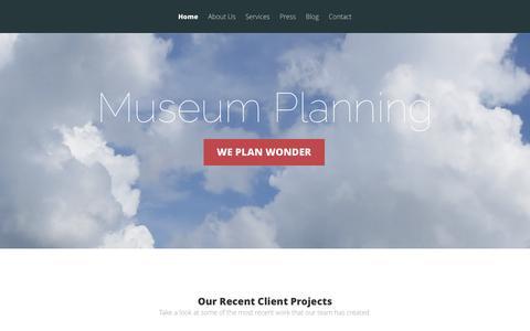 Screenshot of Home Page museumplanning.com - Museum Planning - We Plan Wonder - captured Feb. 15, 2016