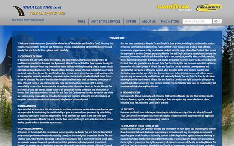 Screenshot of Terms Page miracletire.com - Terms of Use and Conditions | Miracle Tire and Total Car Care - captured Oct. 7, 2014