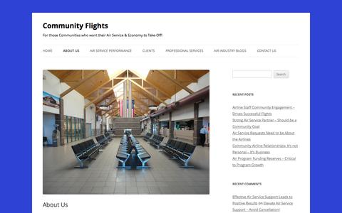 Screenshot of About Page communityflights.com - About Community Flights community air services - captured Sept. 30, 2014