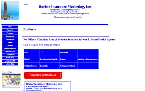 Screenshot of Products Page harborins.com - Life and Health Products, Wholesale Insurance Brokerage General Agency - captured Nov. 1, 2014