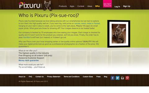 Screenshot of About Page pixuru.com - Who is Pixuru (Pix-sue-roo)? - Pixuru - captured Sept. 30, 2014