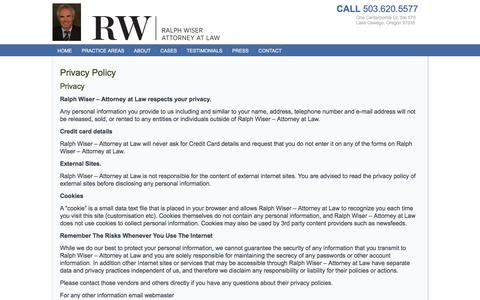 Screenshot of Privacy Page wiserlaw.com - Privacy Policy | Personal Injury Disability Employment Attorney | Lake Oswego, OR - captured Oct. 27, 2017