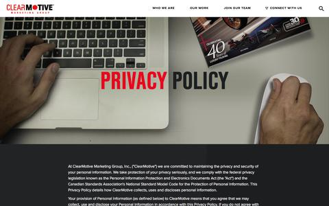 Screenshot of Privacy Page clearmotive.ca - Privacy Policy - ClearMotive Marketing - captured Aug. 2, 2017
