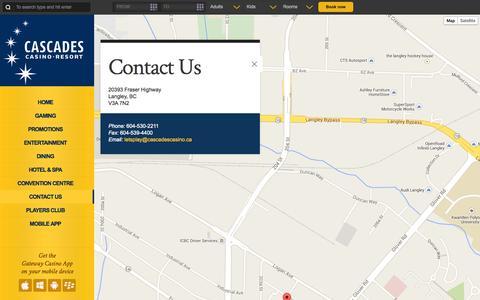 Screenshot of Contact Page cascadescasino.ca - Contact Us | Cascades Casino - captured Sept. 29, 2014