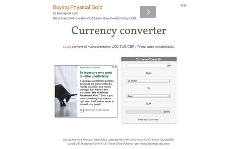 Screenshot of Home Page currency-converter-app.appspot.com - Currency converter - captured Sept. 19, 2014