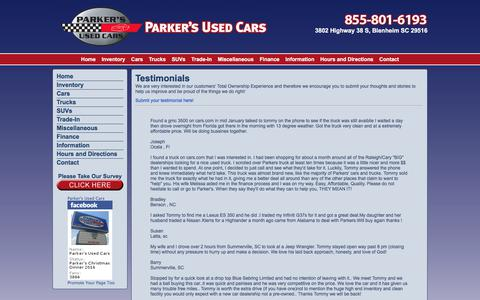 Parker's Used Cars | Used Cars For Sale in Florence Myrtle Beach Charlotte Bennettsville: Testimonials