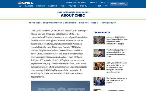 Screenshot of About Page cnbc.com - About CNBC U.S. - captured Nov. 30, 2019