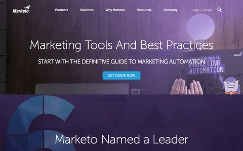 Screenshot of marketo.com - Marketing Tools, Resources, & Best Practices - Marketo - captured Jan. 17, 2018