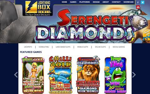 Screenshot of Home Page lightningboxgames.com - Lightning Box Games - The Slot Design Specialists - captured Nov. 30, 2015