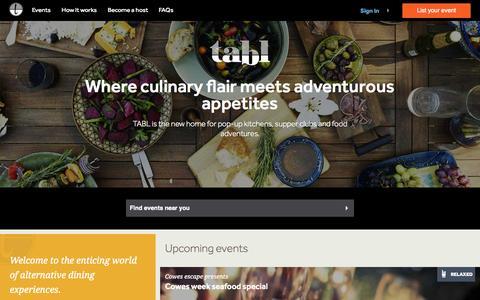 Screenshot of Home Page tabl.com - Tabl pop-up kitchen and supper club platform @     Tabl - captured Aug. 11, 2015