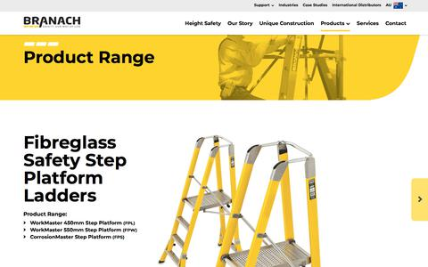 Screenshot of Products Page branach.com.au - Product Range   Branach - Our wide range of fibreglass extension, single... - captured Aug. 3, 2018