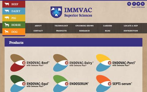 Screenshot of Products Page immvac.com - Products - IMMVAC - captured Nov. 18, 2016