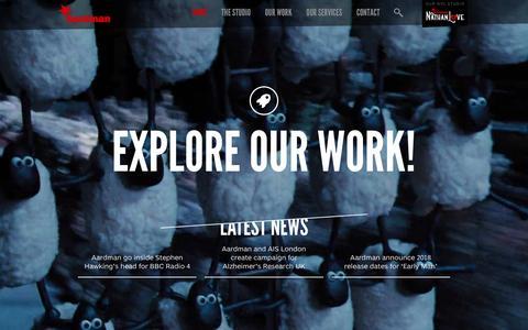 Screenshot of Home Page aardman.com - Aardman - captured Jan. 22, 2016