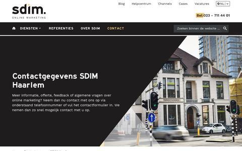 Screenshot of Contact Page sdim.nl - SDIM | Hét online marketing bureau uit Haarlem: 023-7114401 - captured Sept. 9, 2019