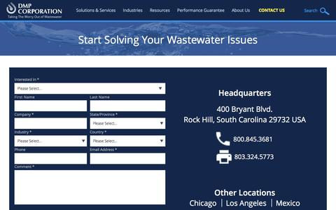 Screenshot of Contact Page dmpcorp.com - Industrial Wastewater Treatment Solutions | Contact DMP - captured Nov. 23, 2016