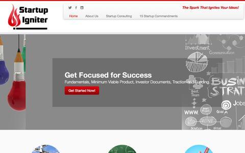 Screenshot of Home Page startupigniter.com - Startup Consulting | Startup Consultants | Startup Igniter - captured Oct. 7, 2014