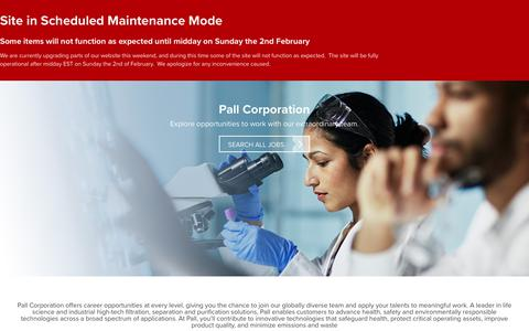 Screenshot of Jobs Page pall.com - Careers | Pall Corporation - captured Feb. 1, 2020