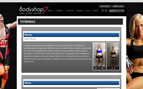 Screenshot of Testimonials Page bodyshop7.com - Testimonials | Bodyshop7 - captured Jan. 6, 2016