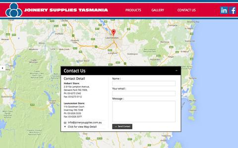 Screenshot of Contact Page joinerysupplies.com.au - Contact Us  - Joinery Supplies Tasmania - captured Feb. 11, 2016