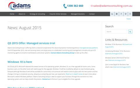 Screenshot of Press Page adamsconsulting.com.au - News: August 2015 - captured Feb. 5, 2016
