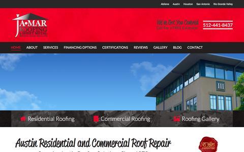 Screenshot of Home Page jamarroofing.com - Austin Roofing | Roof Repair | Ja-Mar Roofing and Sheet Metal - captured Feb. 11, 2016