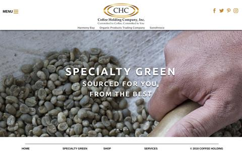 Screenshot of Home Page coffeeholding.com - Coffee Holding Company, Inc.   Committed to Coffee, Committed to You - captured Sept. 28, 2018